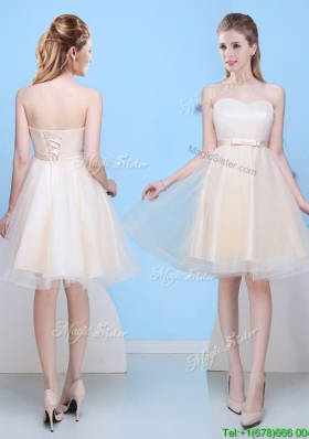 Inexpensive A Line Sweetheart Bowknot Bridesmaid Dress in Champagne