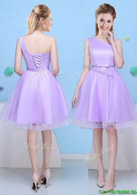 Modest A Line One Shoulder Lavender Bridesmaid Dress for Party