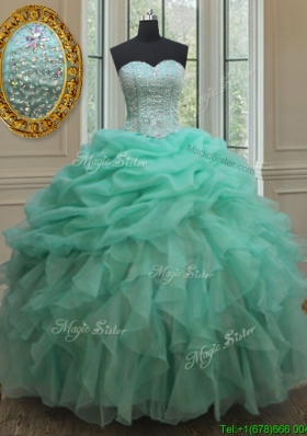 2017 Cheap Beaded and Bubble Turquoise Organza Quinceanera Dress with Ruffles