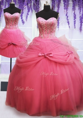 Fashionable Beaded and Bowknot Detachable Quinceanera Dress in Watermelon Red