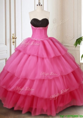 Affordable Black and Hot Pink Quinceanera Dress with Beading and Ruffled Layers