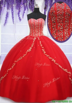 Cheap Visible Boning Applique and Beaded Bodice Quinceanera Dress in Red