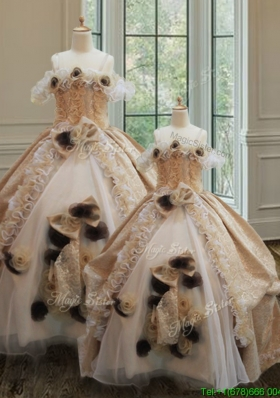 Organza and Laced Handcrafted Flowers Princesita Quinceanera Dresses with Ruffles