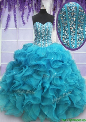Hot Sale Visible Boning Beaded Bodice Organza Quinceanera Dress in Teal