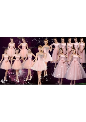 New Style Tulle Baby Pink Bridesmaid Dresses with Lace Up