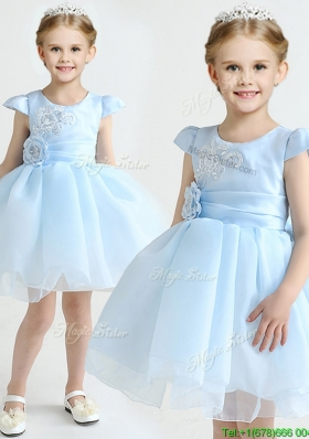 Hot Sale Applique and Bowknot Flower Girl Dress in Light Blue
