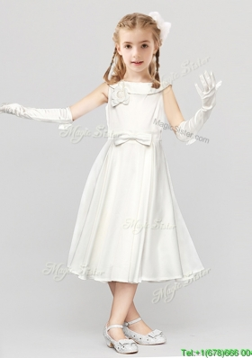 Informal Bowknot Scoop Tea Length Flower Girl Dress with Button Up