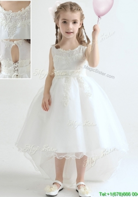 Latest A Line Scoop High Low Flower Girl Dress in Organza