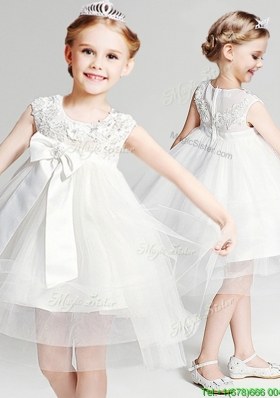 Popular Applique and Bowknot Short Flower Girl Dress in Knee Length