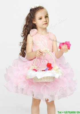 Beautiful Scoop Laced and Ruffled Short Flower Girl Dress in Organza