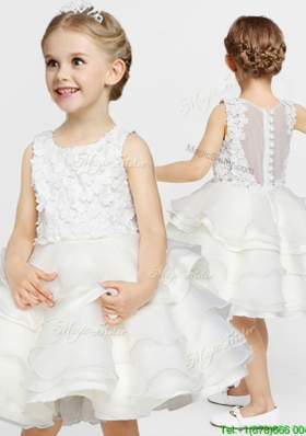 Discount Button Up Flower Girl Dress with Appliques and Ruffled Layers
