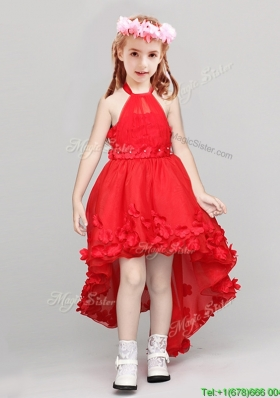Exquisite Halter Top High Low Applique Flower Girl Dress in Red
