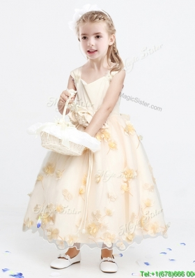 Lovely Applique and Bowknot Ankle Length Flower Girl Dress in Champagne