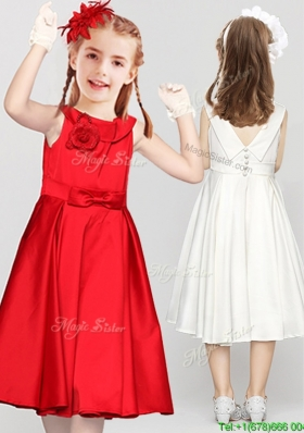 New Style Bowknot Button Up Red Flower Girl Dress in Tea Length