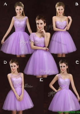 Fashionable Lilac Short Prom Dress with Lace and Ruching
