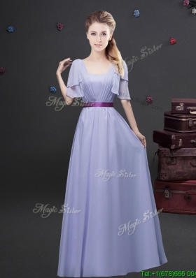 2017 Exquisite Empire Square Belted Long Prom Dress with Short Sleeves