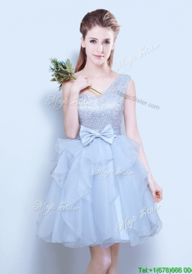 2017 Popular One Shoulder Organza Short Prom Dress in Grey