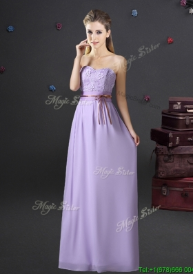 Exquisite Belted and Applique Laced Long Prom Dress in Lavender