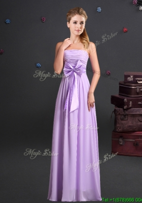 Modern Empire Strapless Chiffon Long Prom Dress in Lavender