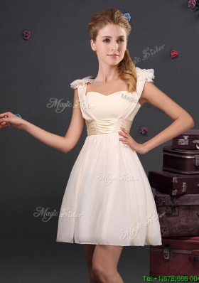 Wonderful Bowknot and Ruched Champagne Prom Dress with Straps