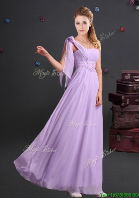 Affordable One Shoulder Ruched Long Dama Dress in Chiffon