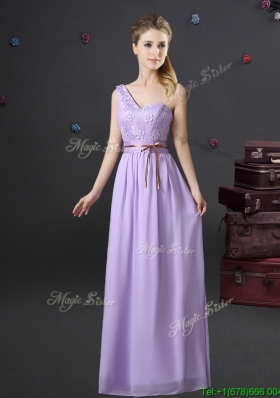 Beautiful Belted and Applique Lavender Bridesmaid Dress with One Shoulder