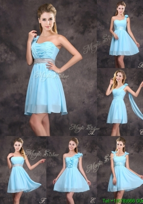 Best Selling Baby Blue Mini Length Bridesmaid Dress with Ruching