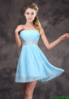 Cute Sequined Decorated Waist Short Dama Dress with Strapless