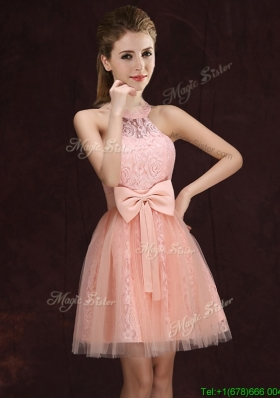 Elegant See Through Halter Top Bowknot and Laced Short Dama Dress