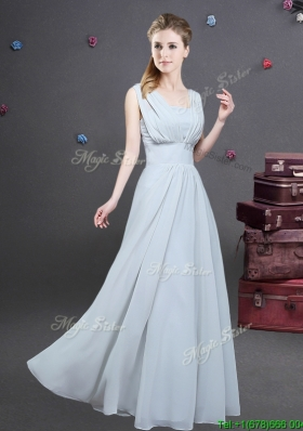 High End Empire Square Grey Long Bridesmaid Dress with Ruching