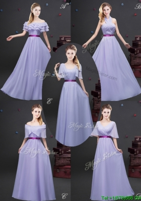 Lovely Empire Chiffon Lavender Long Dama Dress with Purple Belt