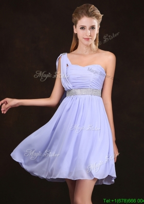 Modern Ruched Bodice and Sequined Short Bridesmaid Dress in Lavender