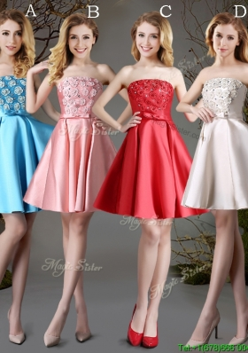 New Arrivals Strapless Satin Short Dama Dress with Appliques and Bowknot