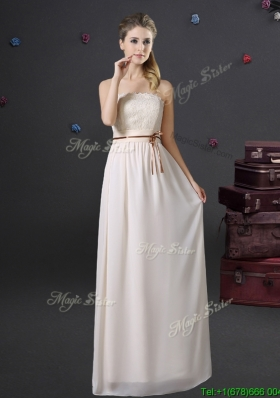 Pretty Off White Chiffon Strapless Bridesmaid Dress with Lace and Belt