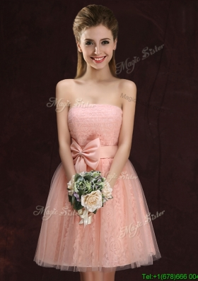 Romantic Strapless Bowknot Pink Bridesmaid Dress in Lace and Tulle