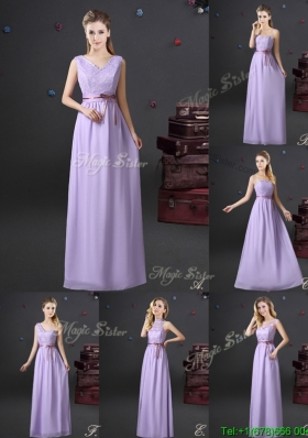 Simple Chiffon Lavender Long Bridesmaid Dress with Lace and Belt
