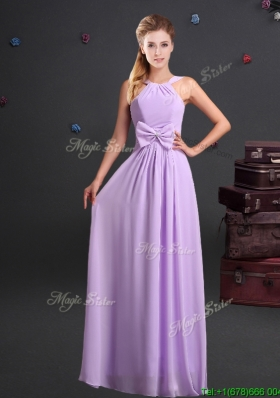 Simple Empire Halter Top Chiffon Long Bridesmaid Dress in Lavender