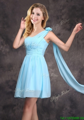 Top Seller Baby Blue Dama Dress with Handcrafted Flower and Ruching
