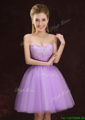 Top Seller Sweetheart Lilac Bridesmaid Dress with Lace and Ruching