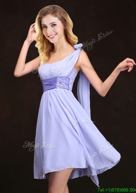 Traditional Handmade Flower Lavender Bridesmaid Dress in Mini Length
