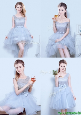 Gorgeous Organza Grey Bridesmaid Dress with Lace and Bowknot
