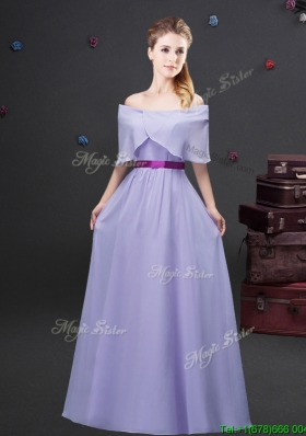 Simple Off the Shoulder Lavender Long Bridesmaid Dress in Chiffon