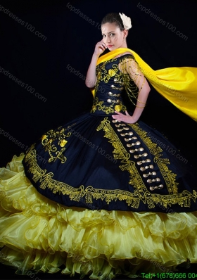 Western Theme Off the Shoulder Organza and Taffeta Embroideried Quinceanera Dress in Yellow and Black