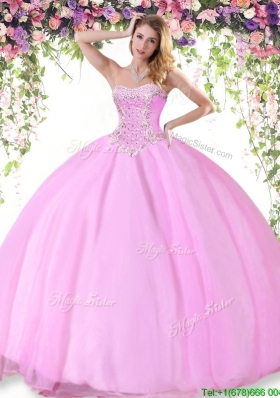 Beautiful Rose Pink Tulle Quinceanera Dress with Beading for Summer