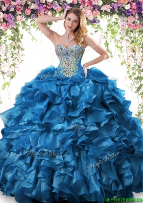 Cheap Big Puffy Organza Quinceanera Dress with Beading and Ruffles