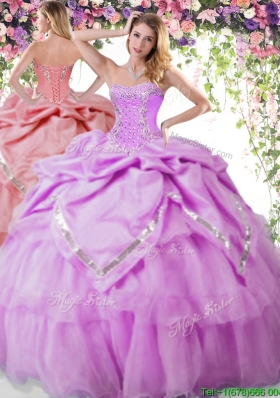 Exquisite Beaded and Pick Ups Organza Quinceanera Dress in Lilac