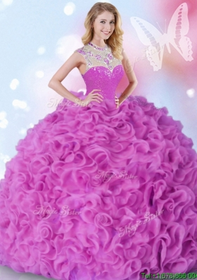 Fashionable High Neck Ruffled and Beaded Quinceanera Dress in Fuchsia