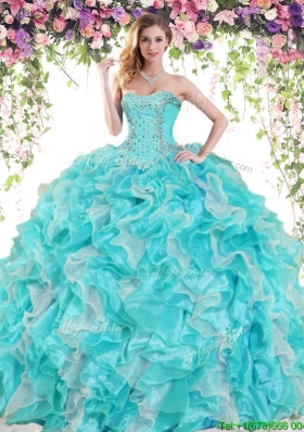 Latest Ruffled and Beaded Big Puffy Quinceanera Dress in Organza