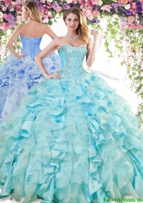 Lovely Beaded and Ruffled Quinceanera Dress in Baby Blue