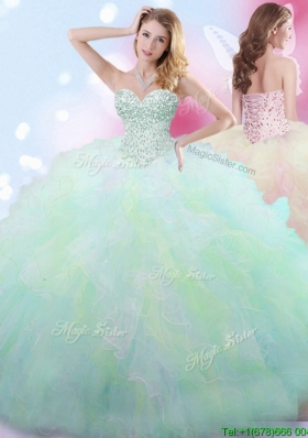 Luxurious Beaded and Ruffled Tulle Quinceanera Dress in Rainbow